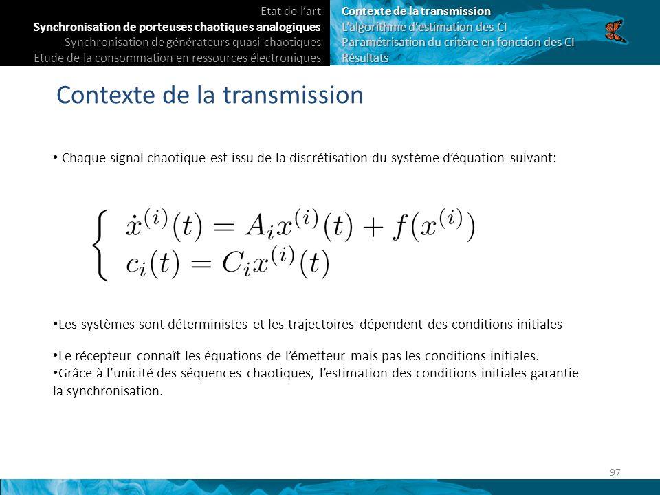 En continu: Synchronisation par estimation des conditions initiales.