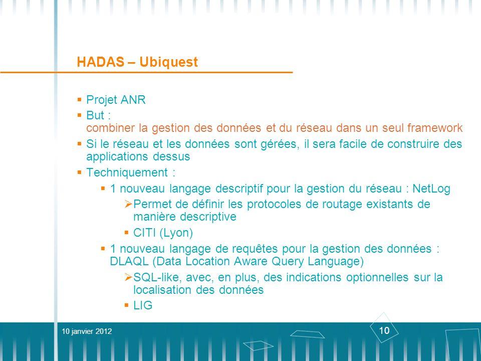 10 HADAS – Ubiquest Projet ANR But : combiner la gestion des données et du réseau dans un seul framework Si le réseau et les données sont gérées, il s