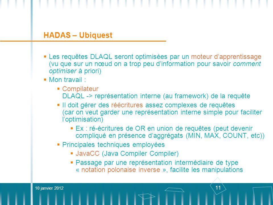 11 HADAS – Ubiquest Les requêtes DLAQL seront optimisées par un moteur dapprentissage (vu que sur un nœud on a trop peu dinformation pour savoir comme
