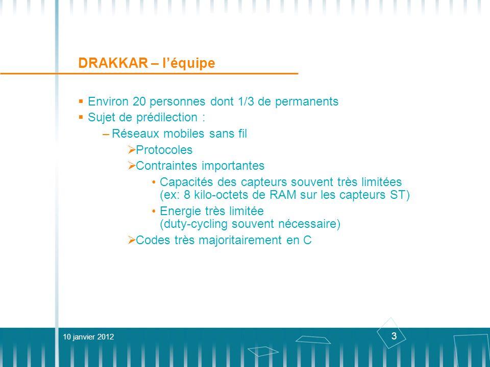 3 DRAKKAR – léquipe Environ 20 personnes dont 1/3 de permanents Sujet de prédilection : –Réseaux mobiles sans fil Protocoles Contraintes importantes C