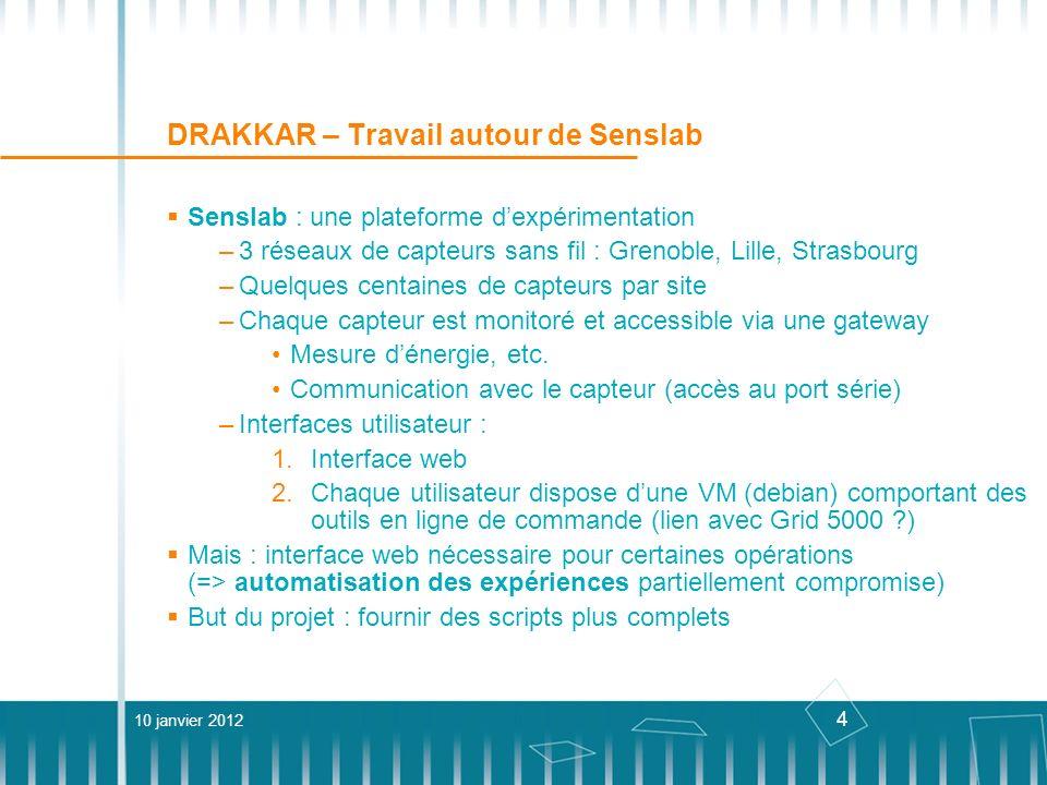 4 DRAKKAR – Travail autour de Senslab Senslab : une plateforme dexpérimentation –3 réseaux de capteurs sans fil : Grenoble, Lille, Strasbourg –Quelque