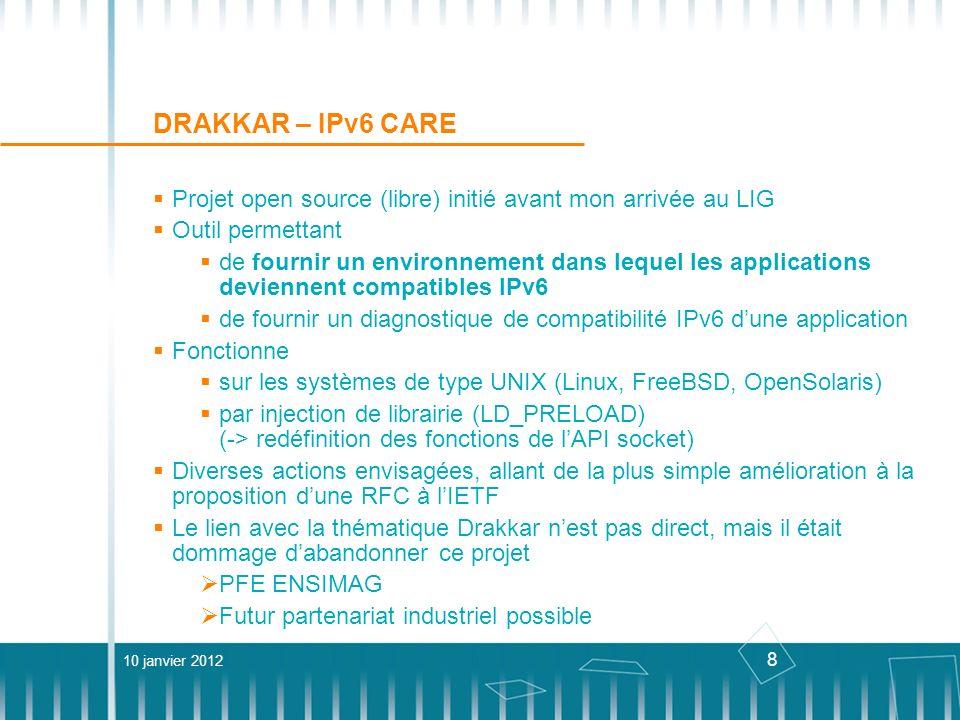 8 DRAKKAR – IPv6 CARE Projet open source (libre) initié avant mon arrivée au LIG Outil permettant de fournir un environnement dans lequel les applicat