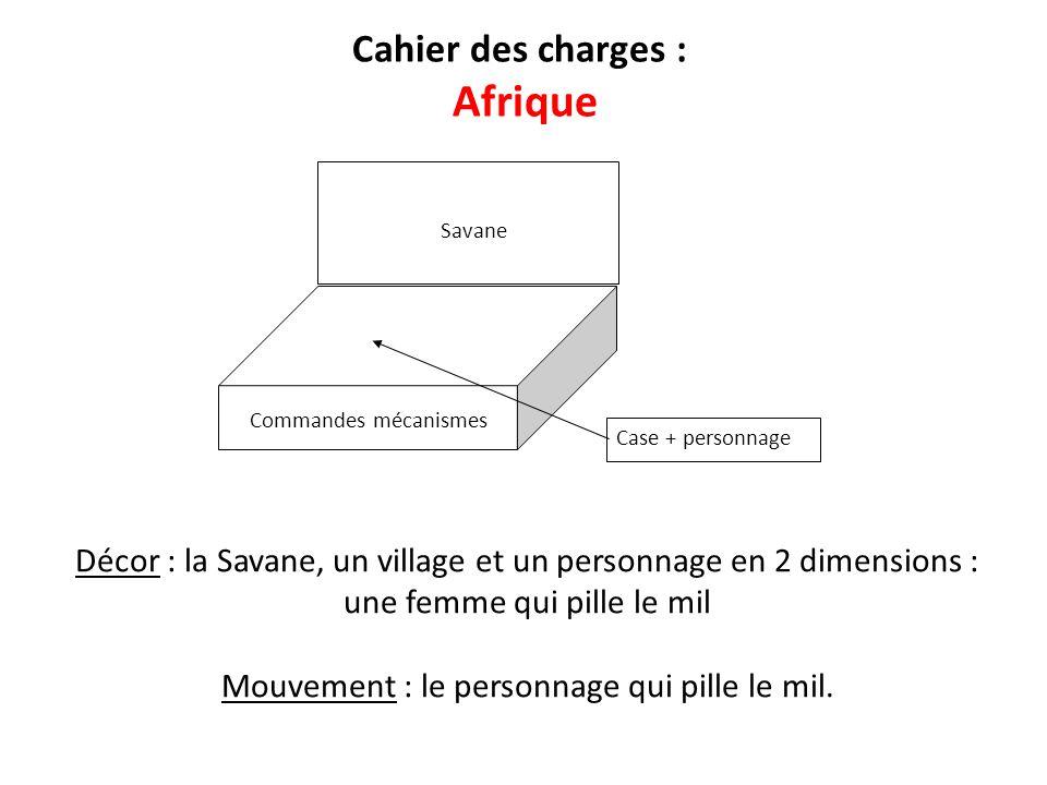 Case + personnage Cahier des charges : Afrique Décor : la Savane, un village et un personnage en 2 dimensions : une femme qui pille le mil Mouvement :