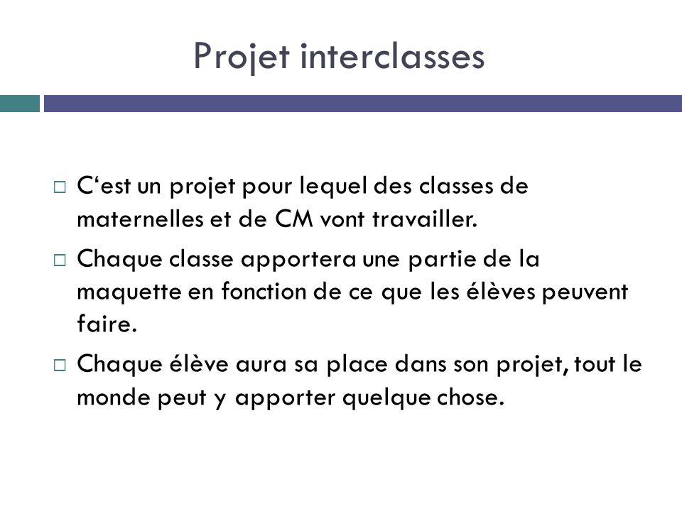 Projet interclasses Cest un projet pour lequel des classes de maternelles et de CM vont travailler. Chaque classe apportera une partie de la maquette