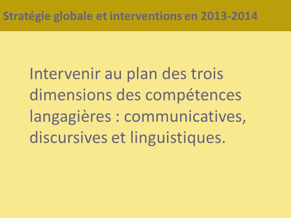 Stratégie globale et interventions en 2013-2014 Intervenir au plan des trois dimensions des compétences langagières : communicatives, discursives et l