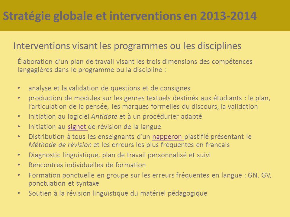 Stratégie globale et interventions en 2013-2014 Interventions visant les programmes ou les disciplines Élaboration dun plan de travail visant les troi