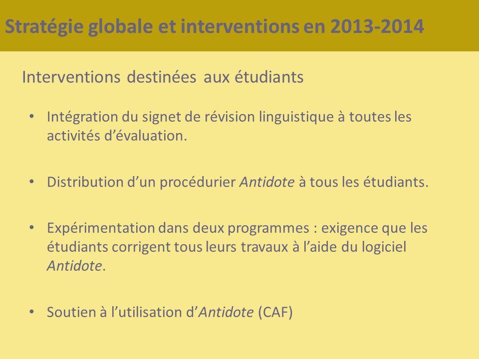 Stratégie globale et interventions en 2013-2014 Interventions destinées aux étudiants Intégration du signet de révision linguistique à toutes les acti