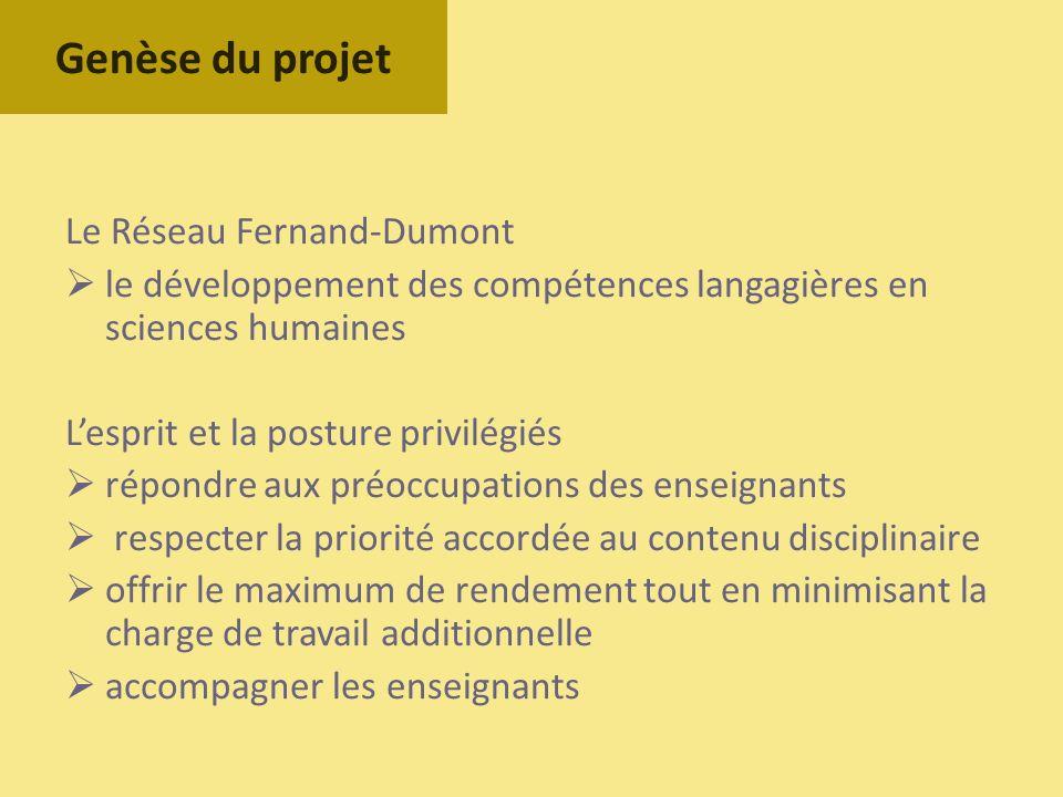 Le Réseau Fernand-Dumont le développement des compétences langagières en sciences humaines Lesprit et la posture privilégiés répondre aux préoccupatio