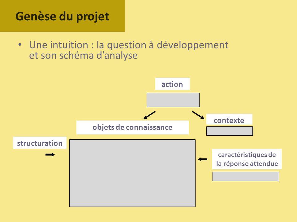 Une intuition : la question à développement et son schéma danalyse Genèse du projet objets de connaissance contexte caractéristiques de la réponse att