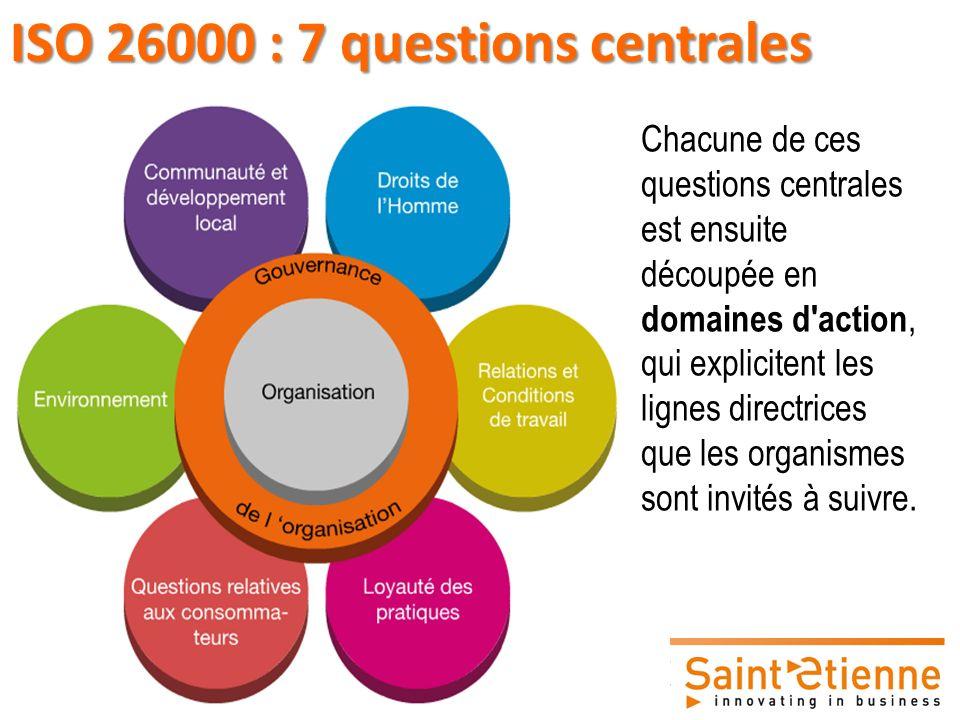 ISO 26000 : 7 questions centrales Chacune de ces questions centrales est ensuite découpée en domaines d action, qui explicitent les lignes directrices que les organismes sont invités à suivre.