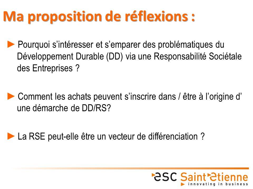 Ma proposition de réflexions : Pourquoi sintéresser et semparer des problématiques du Développement Durable (DD) via une Responsabilité Sociétale des Entreprises .