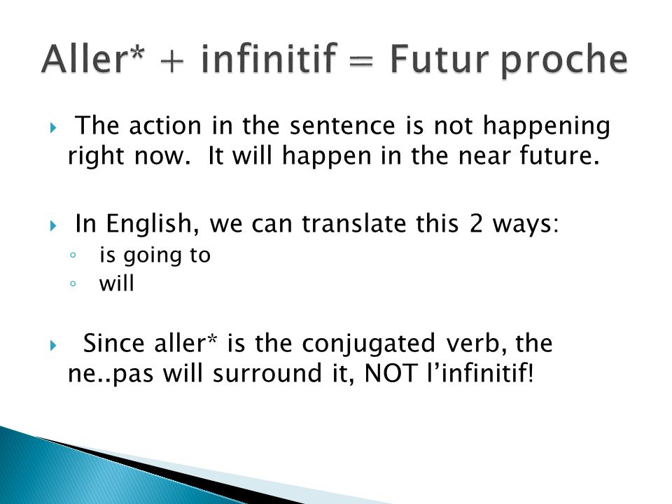 The action in the sentence is not happening right now. It will happen in the near future. In English, we can translate this 2 ways: is going to will S