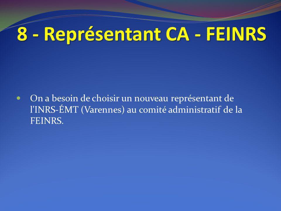 8 - Représentant CA - FEINRS On a besoin de choisir un nouveau représentant de l'INRS-ÉMT (Varennes) au comité administratif de la FEINRS.