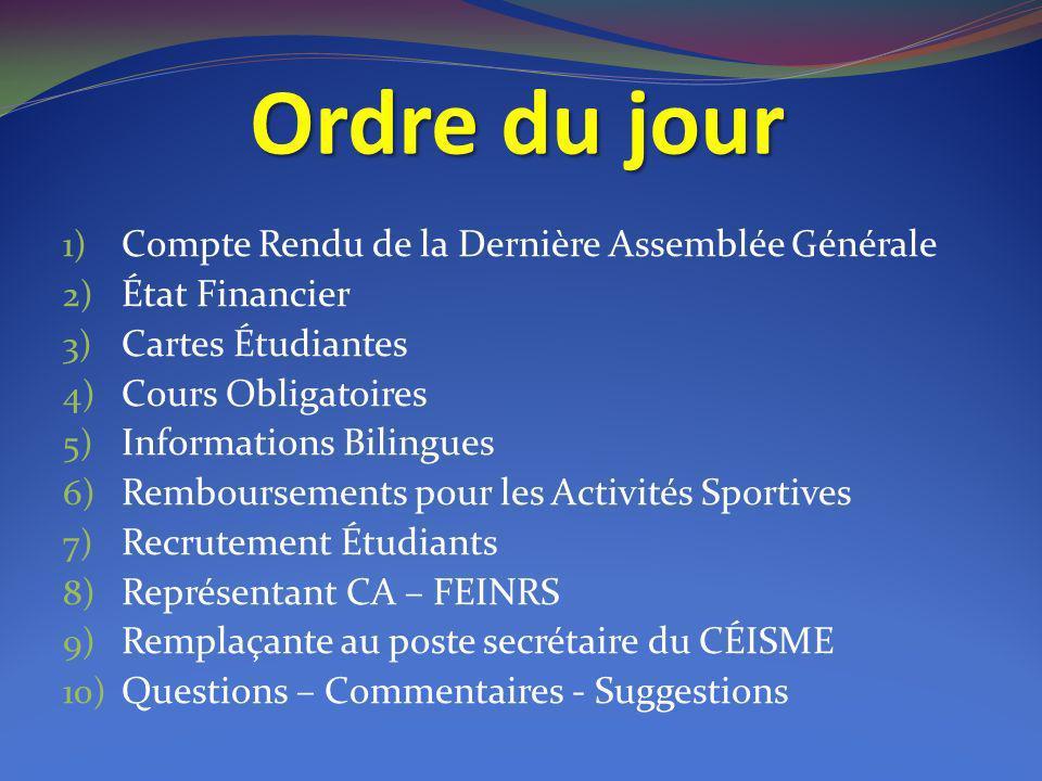 Ordre du jour 1) Compte Rendu de la Dernière Assemblée Générale 2) État Financier 3) Cartes Étudiantes 4) Cours Obligatoires 5) Informations Bilingues