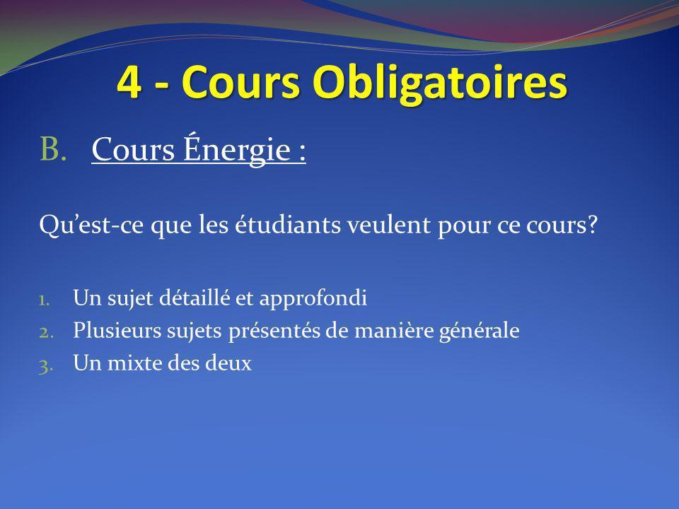 4 - Cours Obligatoires B. Cours Énergie : Quest-ce que les étudiants veulent pour ce cours? 1. Un sujet détaillé et approfondi 2. Plusieurs sujets pré