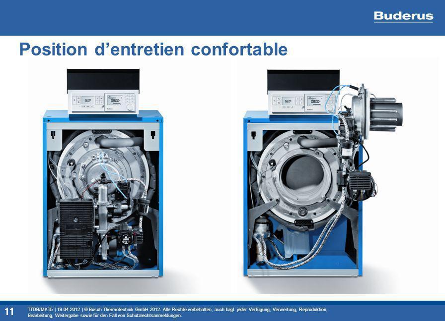 11 Position dentretien confortable 11 TTDB/MKT5 | 19.04.2012 | © Bosch Thermotechnik GmbH 2012. Alle Rechte vorbehalten, auch bzgl. jeder Verfügung, V