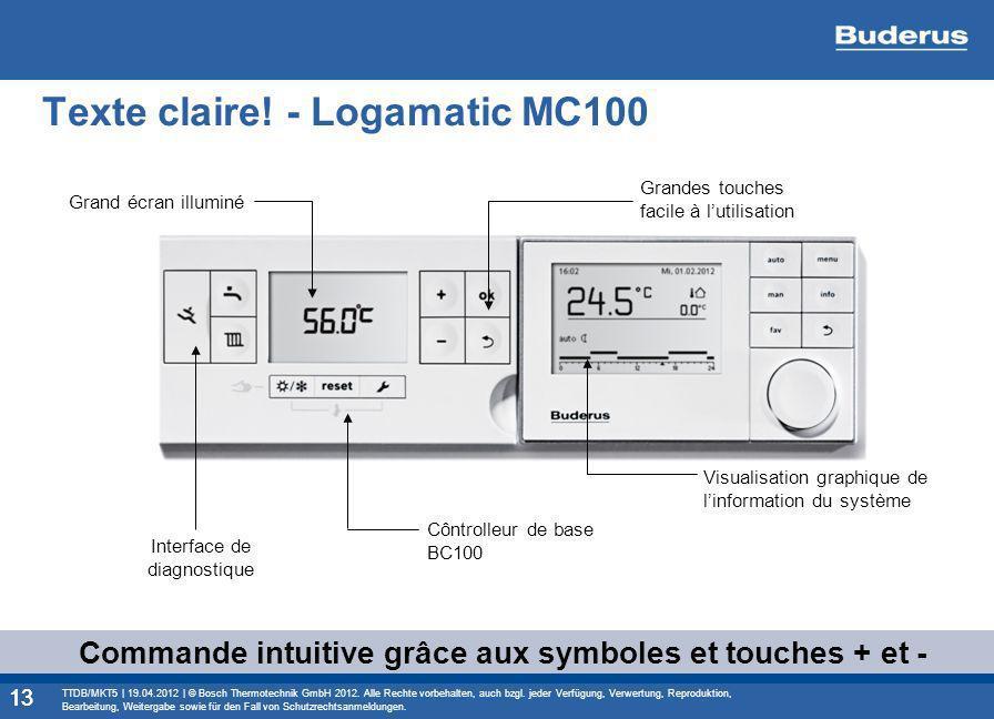 Texte claire! - Logamatic MC100 13 Commande intuitive grâce aux symboles et touches + et - Grandes touches facile à lutilisation Grand écran illuminé