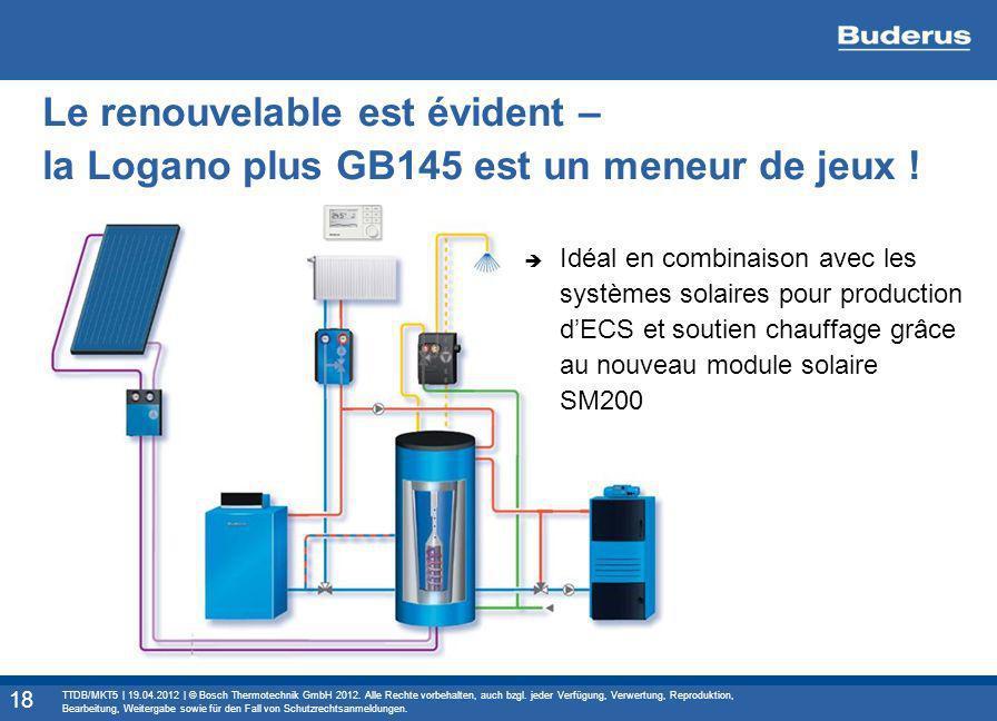 Le renouvelable est évident – la Logano plus GB145 est un meneur de jeux ! Idéal en combinaison avec les systèmes solaires pour production dECS et sou
