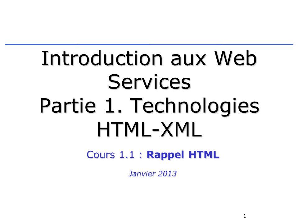 1 Introduction aux Web Services Partie 1. Technologies HTML-XML Cours 1.1 : Rappel HTML Janvier 2013