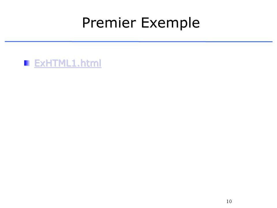 10 Premier Exemple ExHTML1.html