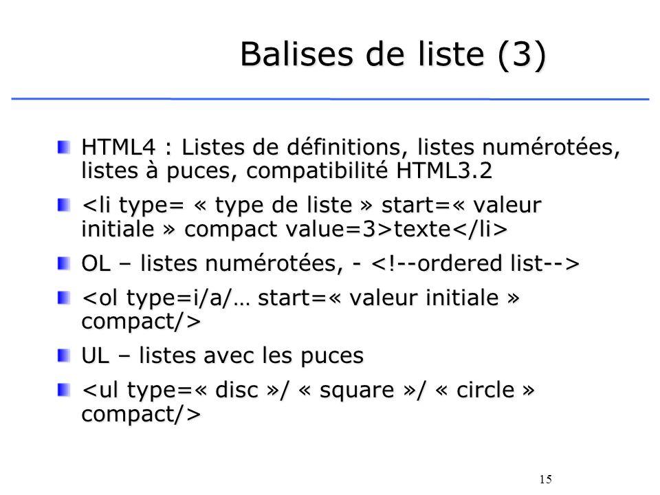 15 Balises de liste (3) HTML4 : Listes de définitions, listes numérotées, listes à puces, compatibilité HTML3.2 texte texte OL – listes numérotées, -