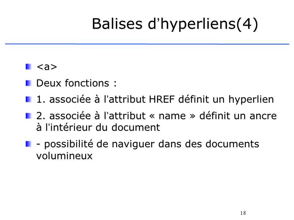 18 Balises dhyperliens(4) <a> Deux fonctions : 1. associée à lattribut HREF définit un hyperlien 2. associée à lattribut « name » définit un ancre à l