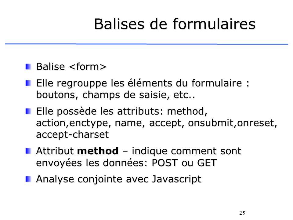 25 Balises de formulaires Balise Balise Elle regrouppe les éléments du formulaire : boutons, champs de saisie, etc.. Elle possède les attributs: metho