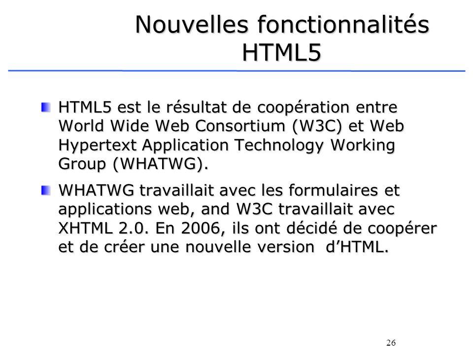 26 Nouvelles fonctionnalités HTML5 HTML5 est le résultat de coopération entre World Wide Web Consortium (W3C) et Web Hypertext Application Technology