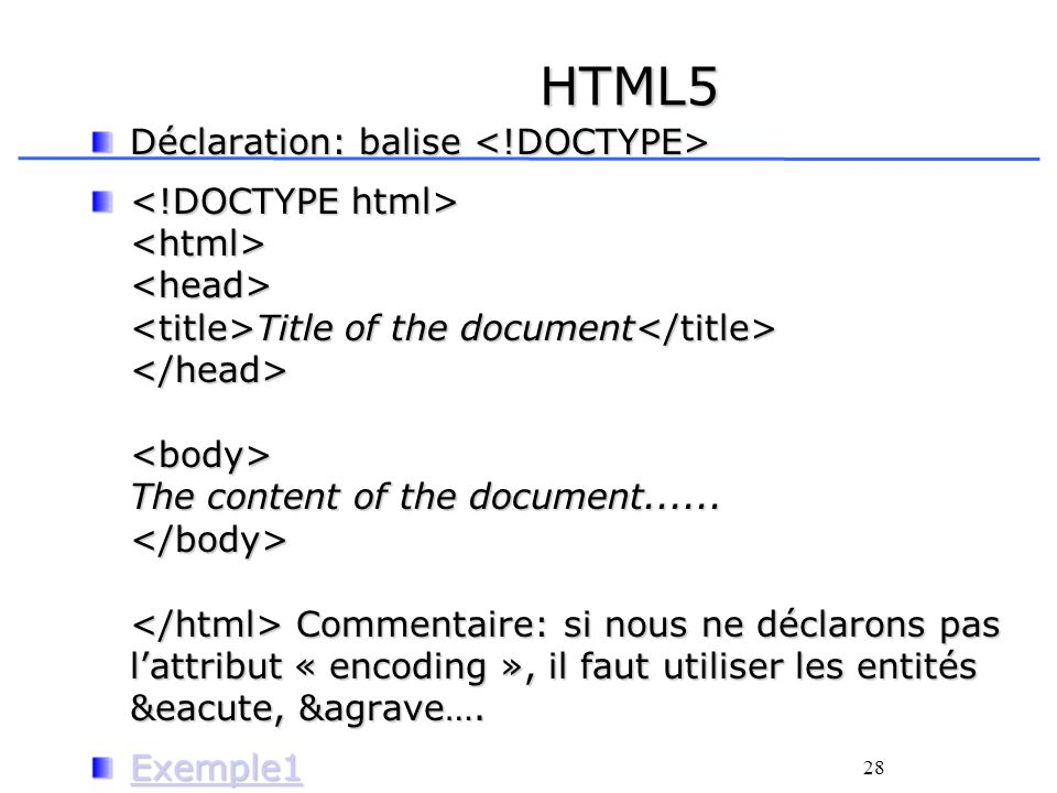 28 HTML5 Déclaration: balise Déclaration: balise Title of the document The content of the document......