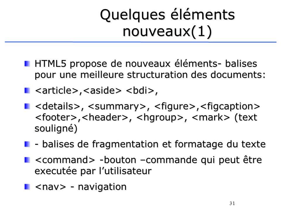 31 Quelques éléments nouveaux(1) HTML5 propose de nouveaux éléments- balises pour une meilleure structuration des documents:,,,,,,,,,, (text souligné)