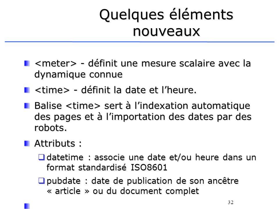 32 Quelques éléments nouveaux - définit une mesure scalaire avec la dynamique connue - définit une mesure scalaire avec la dynamique connue - définit