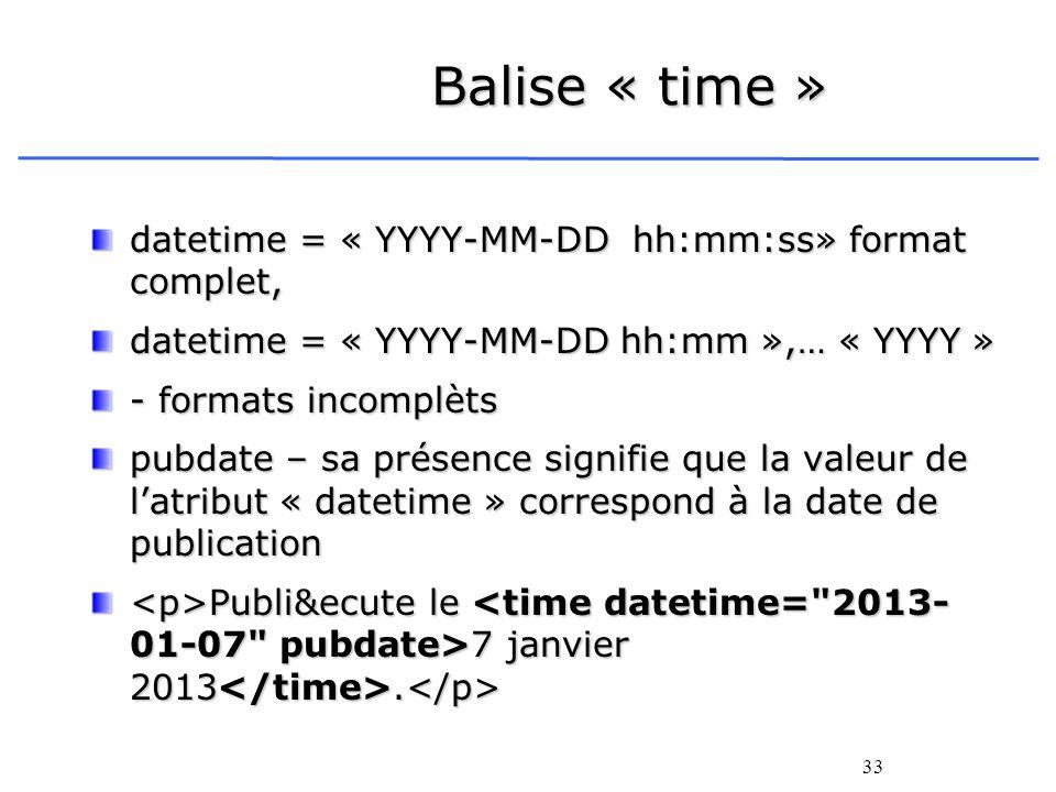 33 Balise « time » datetime = « YYYY-MM-DD hh:mm:ss» format complet, datetime = « YYYY-MM-DD hh:mm »,… « YYYY » - formats incomplèts pubdate – sa prés