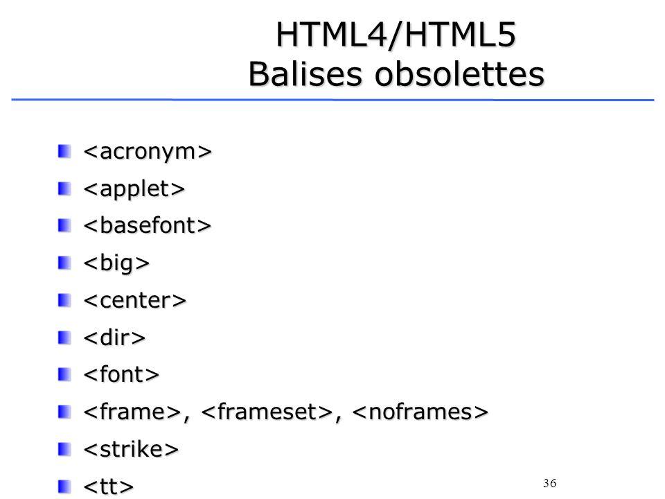 36 HTML4/HTML5 Balises obsolettes <acronym><applet><basefont><big><center><dir><font>,,,, <strike><tt>