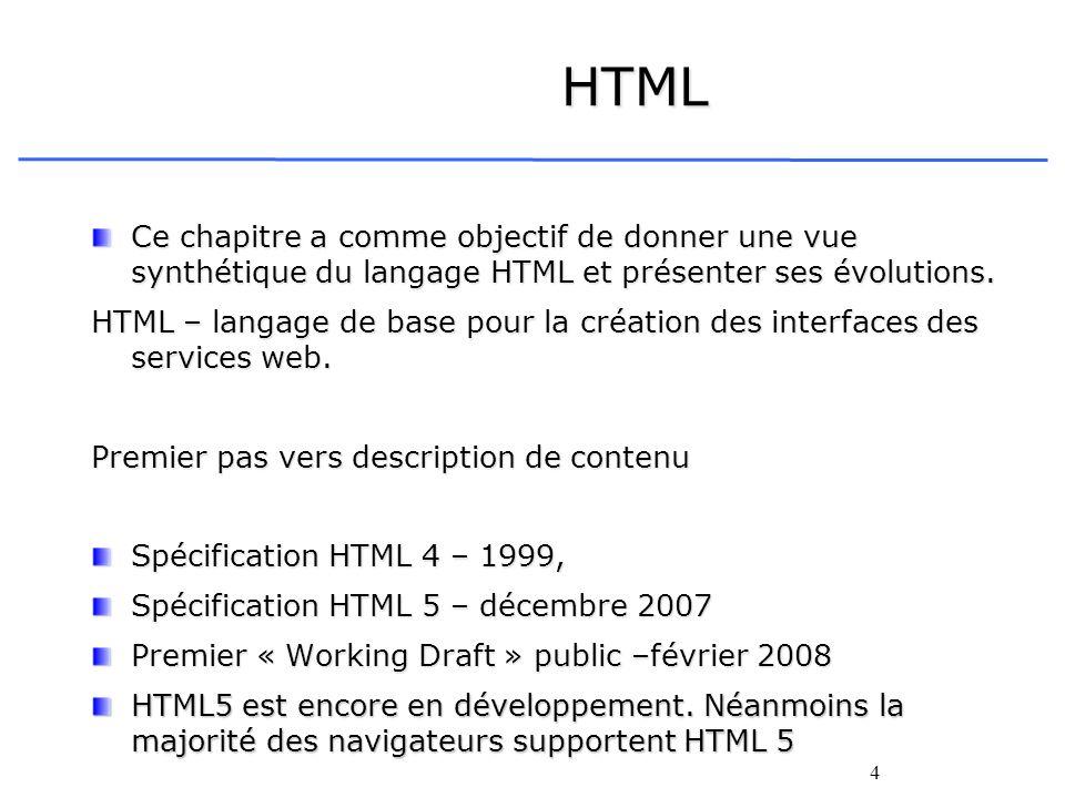 4 HTML Ce chapitre a comme objectif de donner une vue synthétique du langage HTML et présenter ses évolutions. HTML – langage de base pour la création