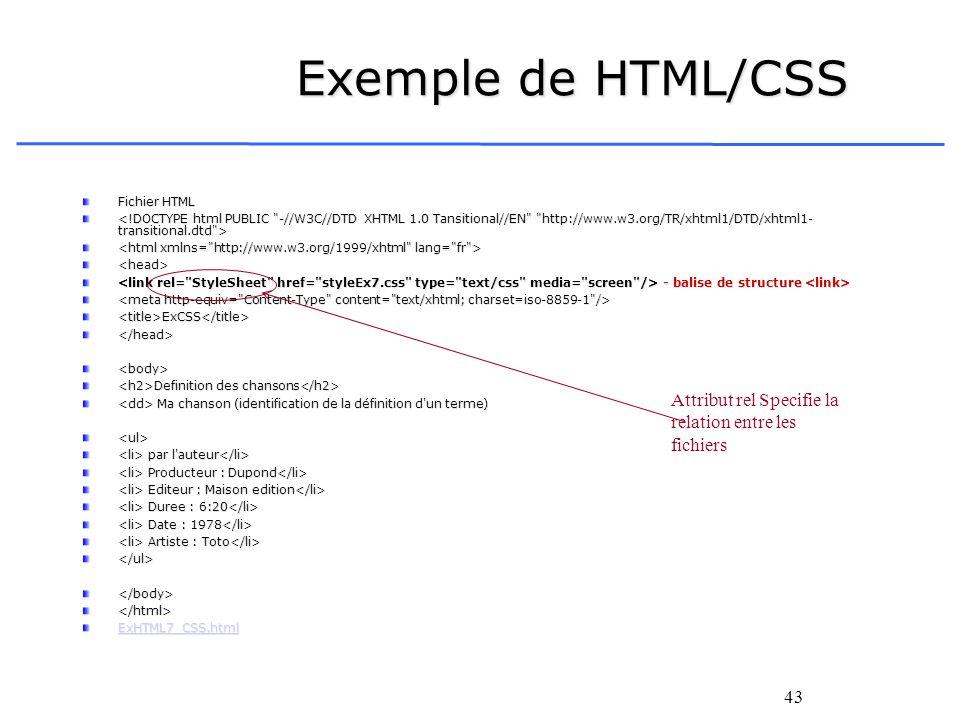 43 Exemple de HTML/CSS Fichier HTML <head> - balise de structure - balise de structure <title>ExCSS</title></head><body> Definition des chansons Defin
