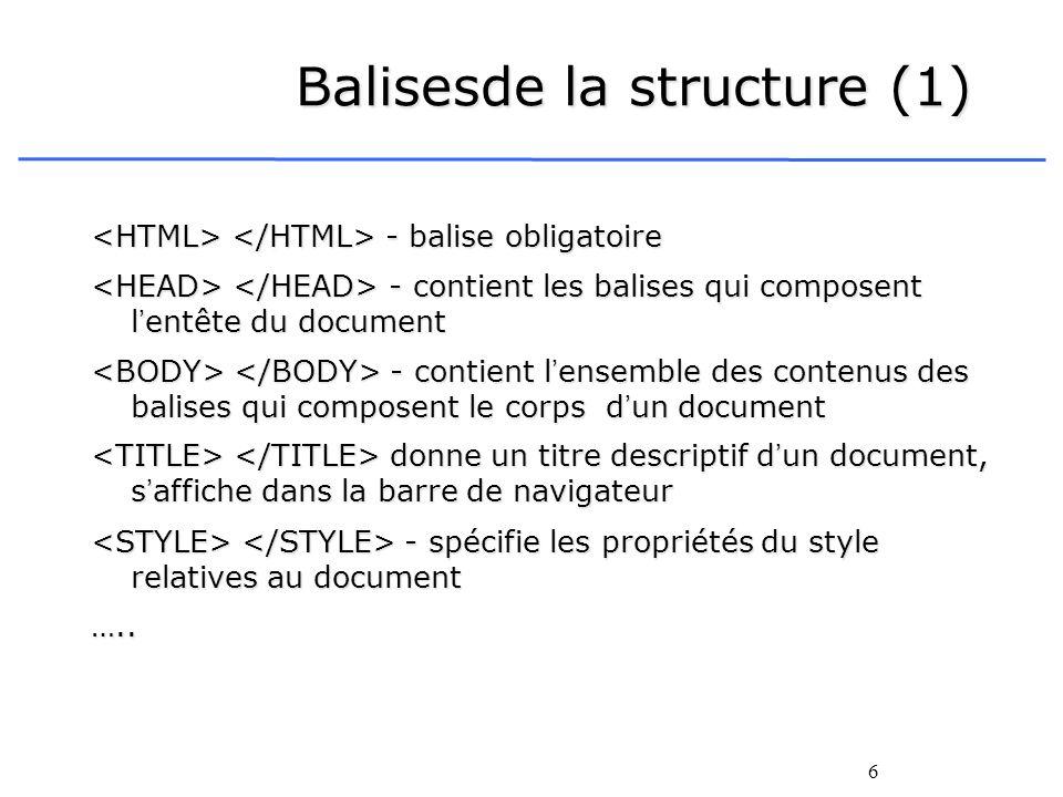 6 Balisesde la structure (1) - balise obligatoire - balise obligatoire - contient les balises qui composent lentête du document - contient les balises