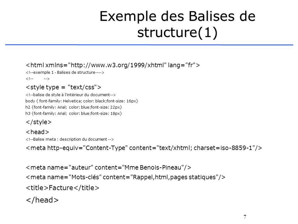 7 Exemple des Balises de structure(1) body { font-family: Helvetica; color: black;font-size: 16px} h2 {font-family: Arial; color: blue;font-size: 22px