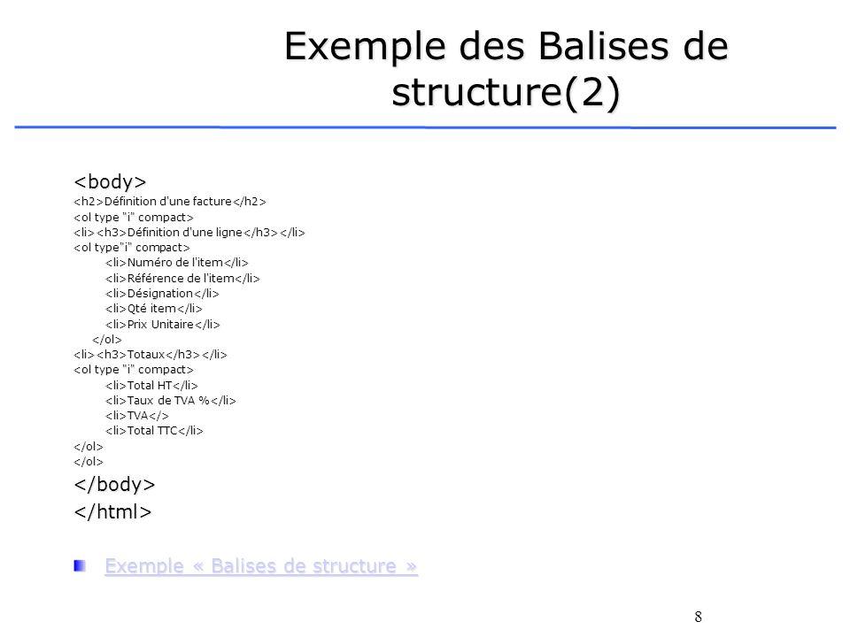 8 Exemple des Balises de structure(2) <body> Définition d'une facture Définition d'une facture Définition d'une ligne Définition d'une ligne Numéro de
