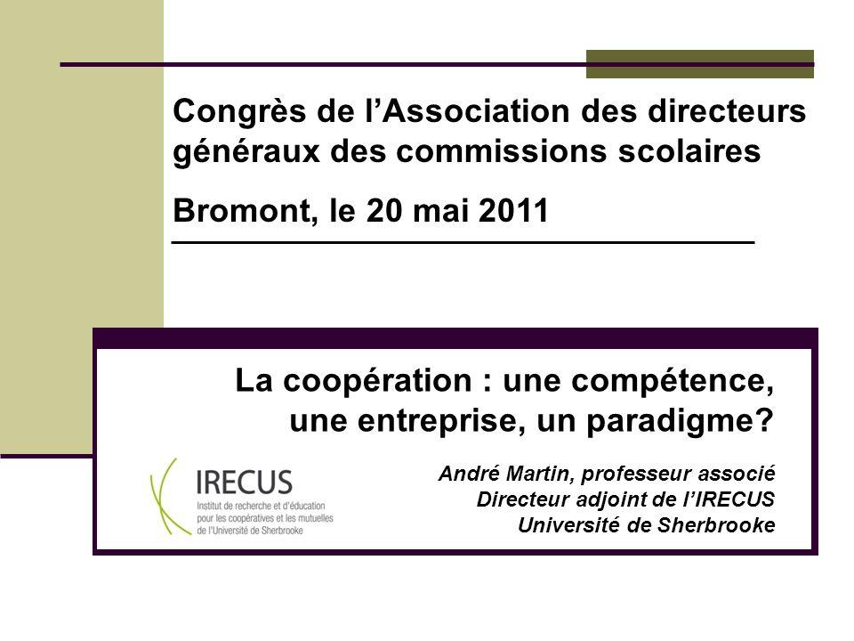 La coopération : une compétence, une entreprise, un paradigme? André Martin, professeur associé Directeur adjoint de lIRECUS Université de Sherbrooke
