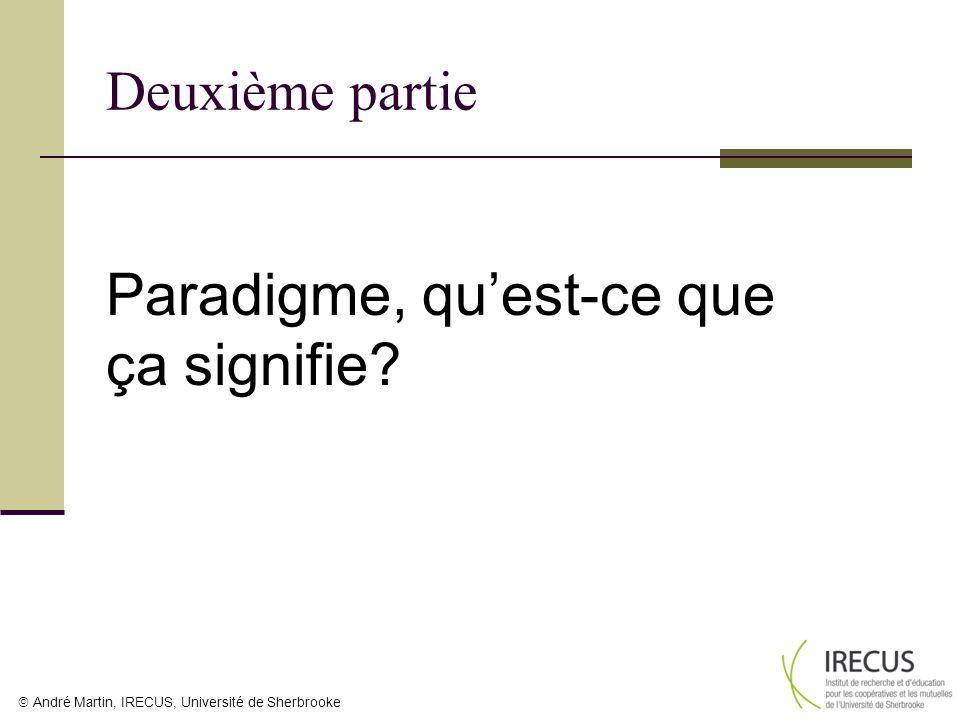 André Martin, IRECUS, Université de Sherbrooke Deuxième partie Paradigme, quest-ce que ça signifie?