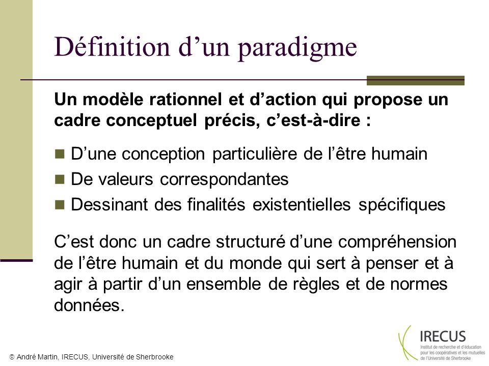 André Martin, IRECUS, Université de Sherbrooke Définition dun paradigme Un modèle rationnel et daction qui propose un cadre conceptuel précis, cest-à-