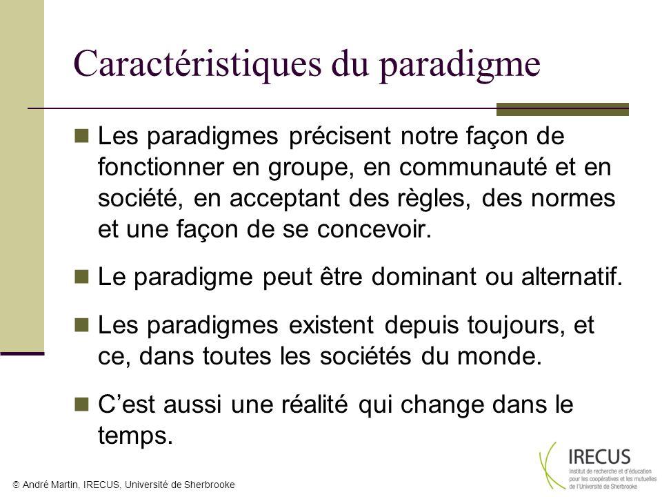 André Martin, IRECUS, Université de Sherbrooke Caractéristiques du paradigme Les paradigmes précisent notre façon de fonctionner en groupe, en communa