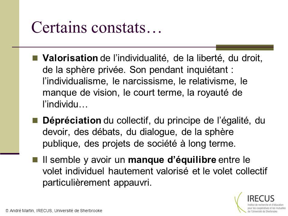 Valorisation de lindividualité, de la liberté, du droit, de la sphère privée. Son pendant inquiétant : lindividualisme, le narcissisme, le relativisme
