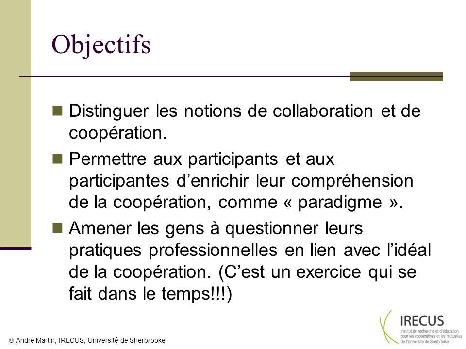 André Martin, IRECUS, Université de Sherbrooke Objectifs Distinguer les notions de collaboration et de coopération. Permettre aux participants et aux