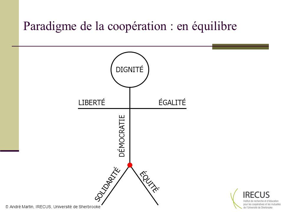 André Martin, IRECUS, Université de Sherbrooke LIBERTÉÉGALITÉ É Q U I T É S O L I D A R I T É DIGNITÉ DÉMOCRATIE Paradigme de la coopération : en équi