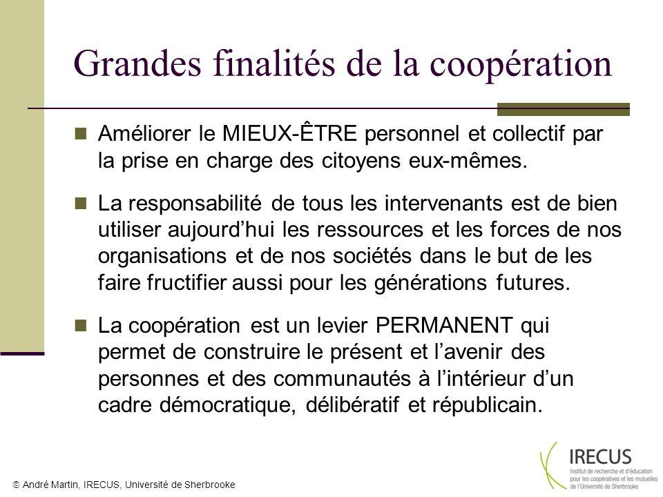 Grandes finalités de la coopération Améliorer le MIEUX-ÊTRE personnel et collectif par la prise en charge des citoyens eux-mêmes. La responsabilité de
