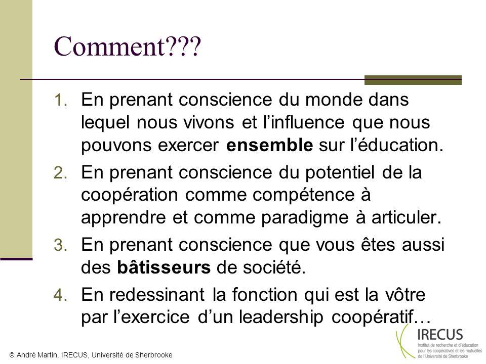 André Martin, IRECUS, Université de Sherbrooke Comment??? 1. En prenant conscience du monde dans lequel nous vivons et linfluence que nous pouvons exe