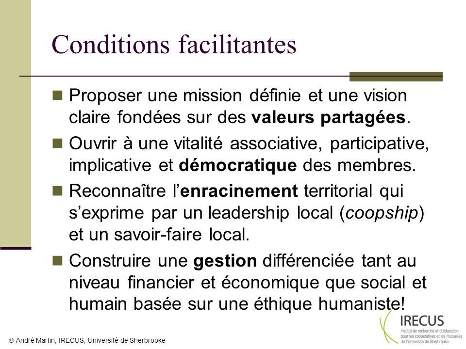 André Martin, IRECUS, Université de Sherbrooke Conditions facilitantes Proposer une mission définie et une vision claire fondées sur des valeurs parta