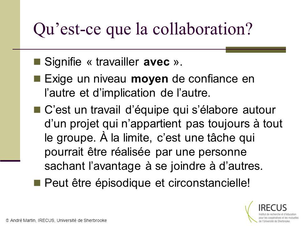 André Martin, IRECUS, Université de Sherbrooke Quest-ce que la collaboration? Signifie « travailler avec ». Exige un niveau moyen de confiance en laut
