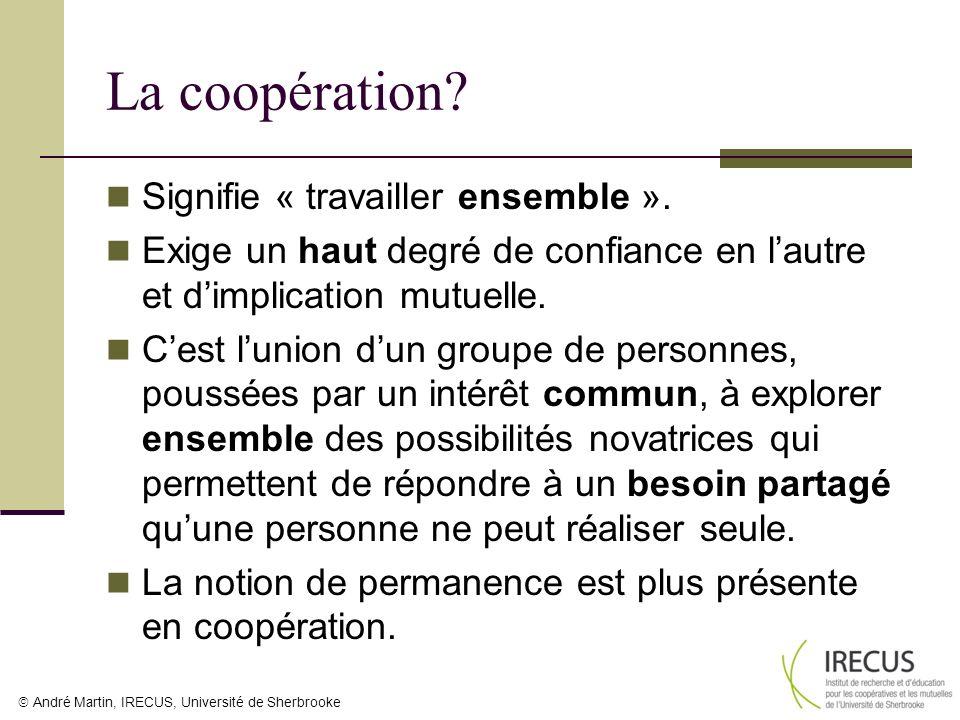 André Martin, IRECUS, Université de Sherbrooke La coopération? Signifie « travailler ensemble ». Exige un haut degré de confiance en lautre et dimplic